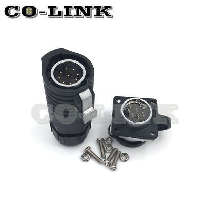 9pin Waterproof Connector Lp20 High Voltage Power Connector Bulkhead Power Plug
