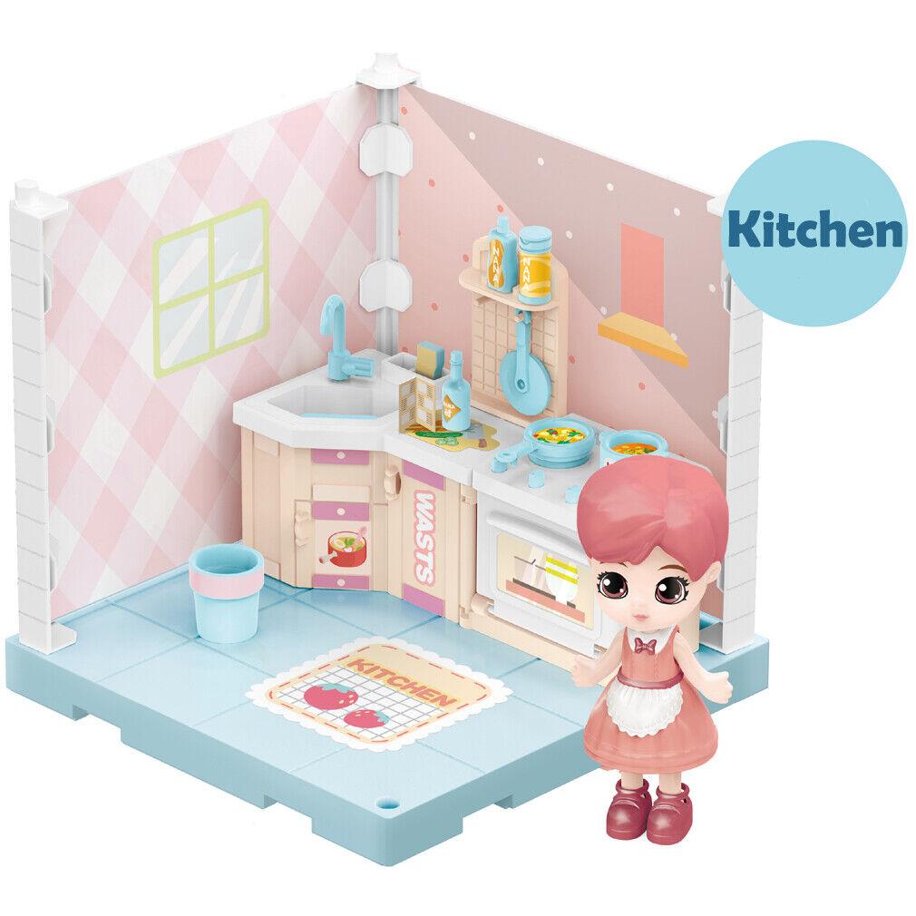 DIY Mini Kitchen Toys For Girl Christmas Gift Miniature Dollhouse Playset Toys - $10.99