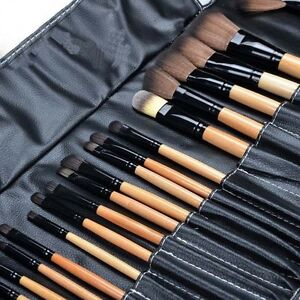 Pro 24 Pcs Makeup Brush Cosmetic Tool Kit Eyeshadow Powder Brush Set + Case GU##