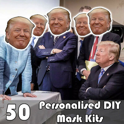 50 PACK OF PERSONALISED DIY FACE MASK KITS - CUSTOM PARTY MASKS TO MAKE AT HOME - At Home Costumes