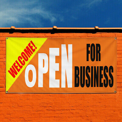 Vinyl Banner Sign Welcome Open For Business Marketing Advertising Orange