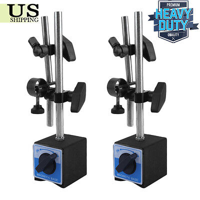 2 Universal 3d Deluxe Magnetic Base Holder For Dial Test Indicator 132lbs Force