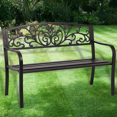New Patio Park Garden Bench Porch Path Chair Outdoor Deck Steel Frame New I50 Home & Garden