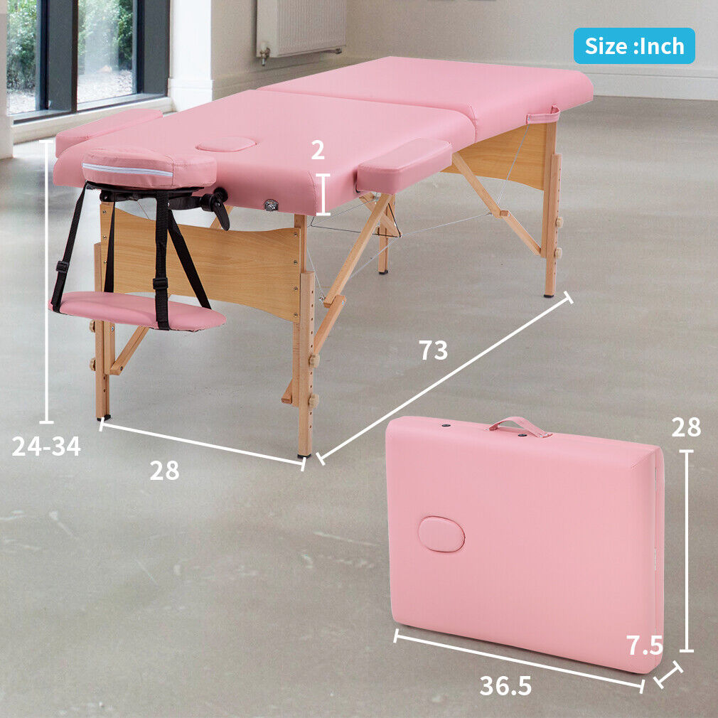 Portable Massage Table 77 Inch Long 28 Inch Wide 2 Fold PU Portable Salon Bed Health & Beauty