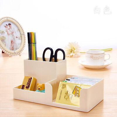 White Office Home Plastic Desk Pen Pencil Holder Storage Stationery Organizer B