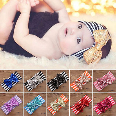 Toddler Girls Baby Kids Big Bow Infant Headband Stretch Turban Knot Head Wrap