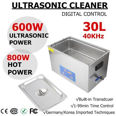30 L Liter Stainless Steel Ultrasonic Cleaner Industry Heated Heater W Timer Ig