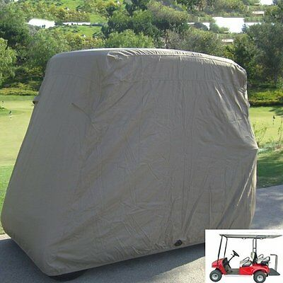 Waterproof 4 Passenger Golf Cart Taupe Cover, Fit EZ Go,Club Car,Yamaha Cart HT