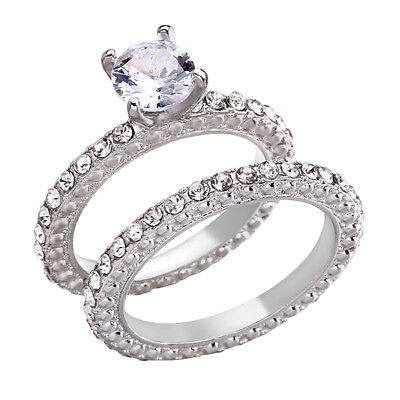 Round Cut CZ Stainless Steel Couple Ring Set Men/Women's Wedding Band Size 5-11 (Cut Couple)