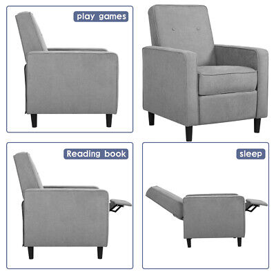 Recliner Chair Fabric with Push Back Accent  Arm Chair, Grey Chairs
