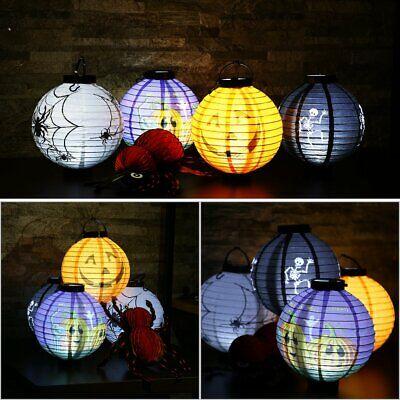 4X LED Paper Lantern Pumpkin Bat Spider Hanging Light Lamp Halloween Party vp