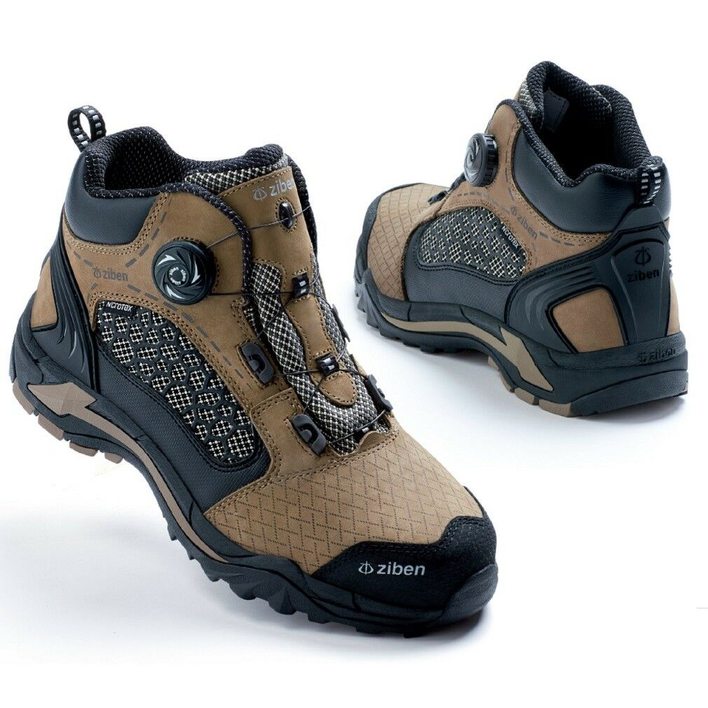 ZIBEN ZB185 Free Lock Dial system steel toe safety work boots shoes for Men