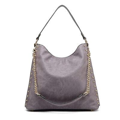 Sales Ladies Studded Large Hobo Chain Shoulder Bag Women Design Leather Handbag