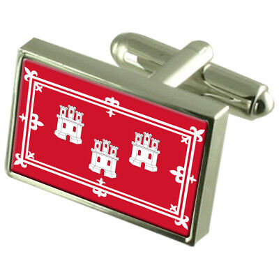 Aberdeen City England Flag Cufflinks Engraved Box