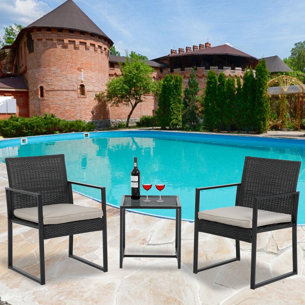 Patio Bistro Set 3 Pieces Outdoor Wicker Chair Patio Rattan Furniture Wicker Con Home & Garden