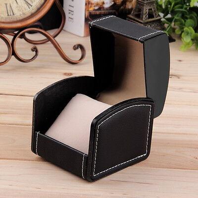 schwarzes Uhrenetui fuer 1 Armbanduhr Uhrenbox  PU Leather Behälter#UP