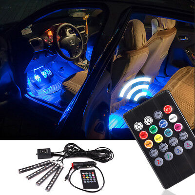4 in 1 LED Car Interior Strip Lights Color Changing Music Light Sound  Remote