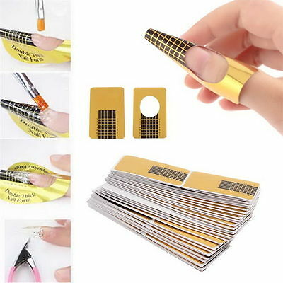 Best 100Pcs Nail Art Tips Extension Forms Guide French DIY Tool Acrylic UV (Best French Nail Art)