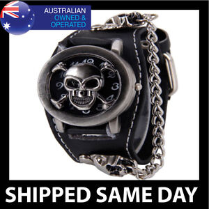 BLACK LEATHER PUNK WRIST WATCH Stud Cuff Band Gothic Emo Rockabilly Chain Skull