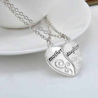 Women's Silver Mother & Daughter Family Love Necklace Pendant Mothers Day -