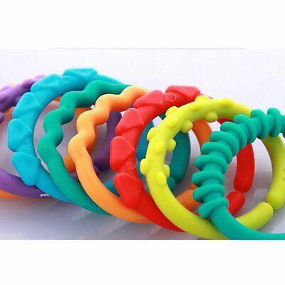 24pcs Baby Teether BPA Free Chewable Teething Rainbow Molars Chain Ring