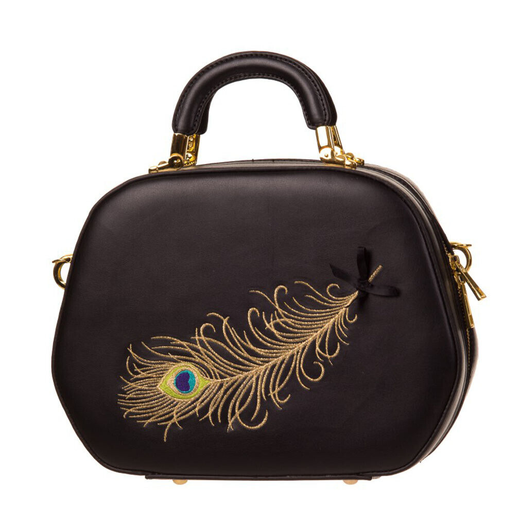 Banned Rockabilly Vintage Handtasche - No Trace Feather Peacock Pfauenfeder