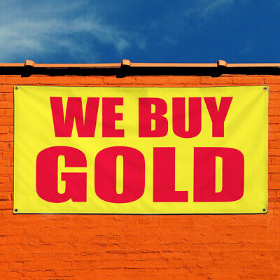 Vinyl Banner Sign We Buy Gold Promotion Business Marketing Advertising Yellow