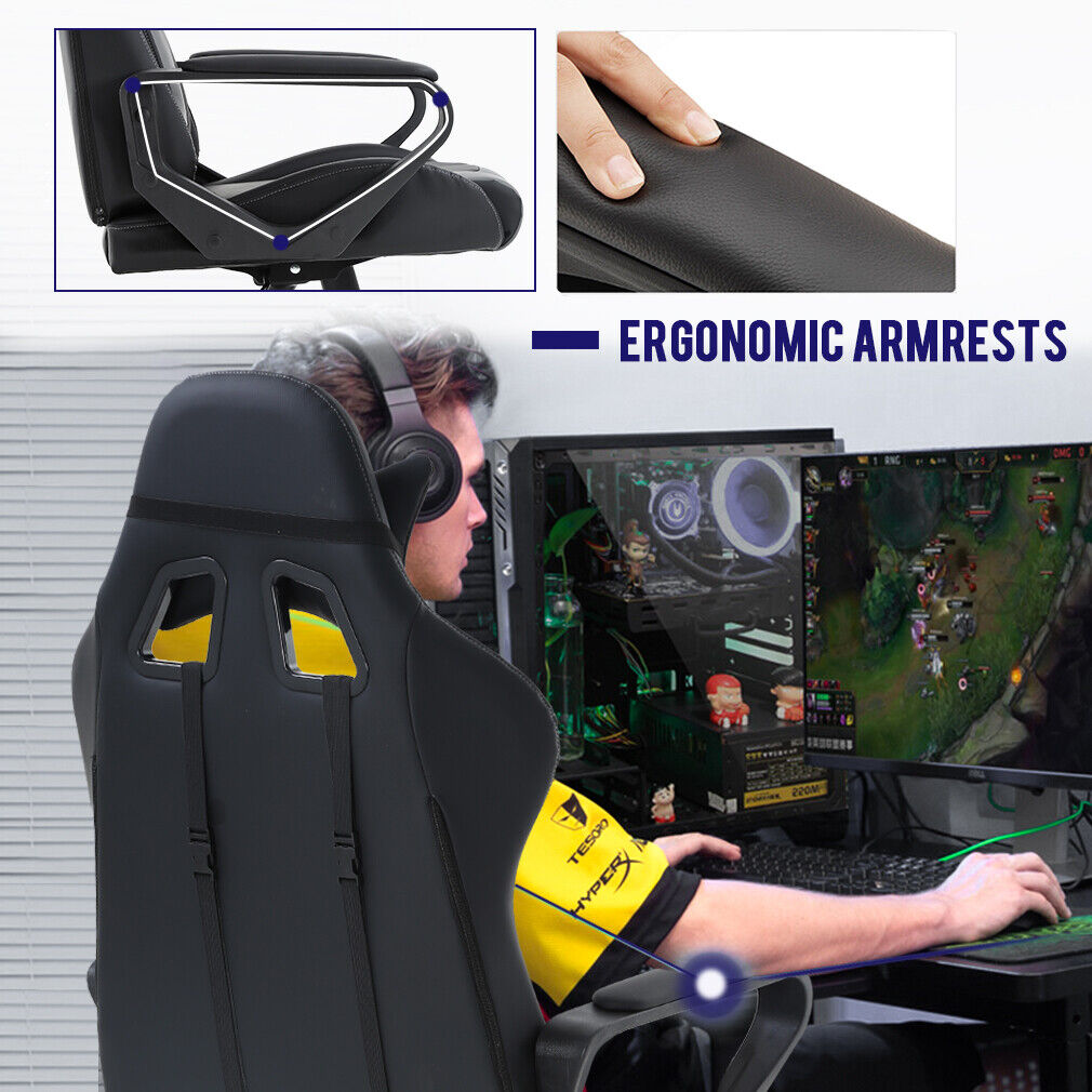 Office Chair Racing High-Back PU Leather Gaming Chair Reclining Computer Chair Chairs