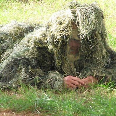 New Ghillie Suit Camo Woodland Camouflage Forest Hunting 3D 4-Piece + Bag