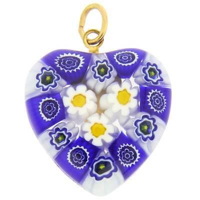 GlassOfVenice Murano Glass Millefiori Heart Pendant Medium - Blue Daisies ()