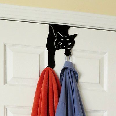 Cute BLACK CAT Over the Door Double Hook Hanger w/ FREE PUFFY STICKERS OFFER*