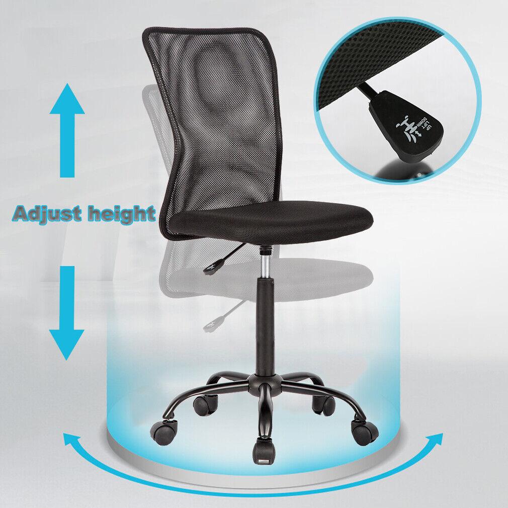 Black Mesh Office Chair Computer Middle Back Task Swivel Seat ErgonomicChair1265 3