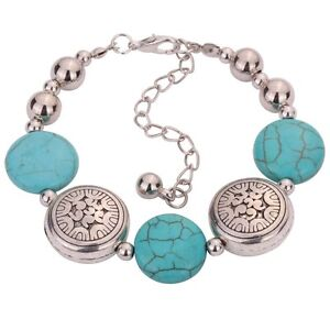 Fashion Jewelry Tibetan Silver Bracelet Turquoise Bead Ajustable Carved Bangle