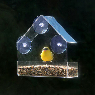 Evelots® Clear Acrylic Window Bird Feeder, Strong All Weather Suction Cups