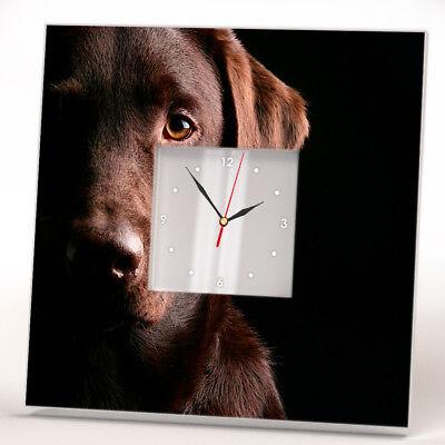 Chocolate Labrador Retriever Dog Wall Clock Decor Pet Lover Art Home Design Gift