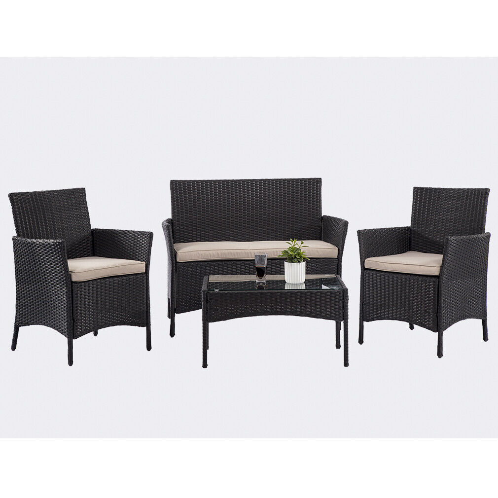 4 Pieces Outdoor Patio Furniture Sets with Coffee Table for Backyard Lawn Porch Home & Garden