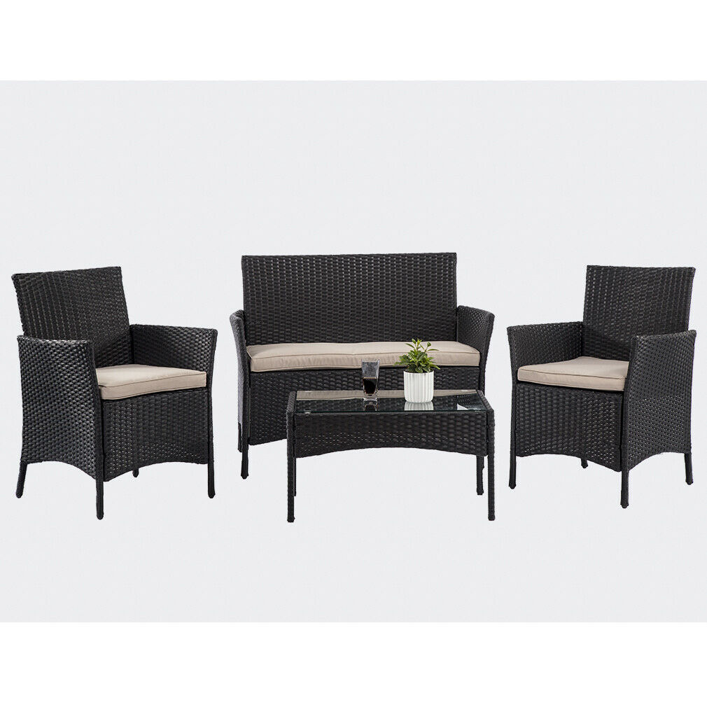 4 Pieces Outdoor Patio Furniture Sets with Coffee Table for