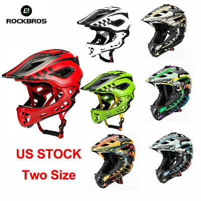 ROCKBROS Full Face BMX MTB Mountain Bike Helmet 48-58cm For Kids Boys 2 in 1 US