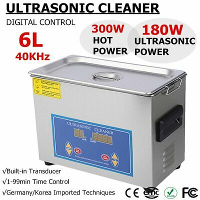 New Stainless Steel 6 Liter Industry Heated Ultrasonic Cleaner Heater Timer Fw