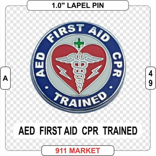 AED First Aid CPR Trained Lapel Pin Qualified Health & Safety 1st Aider  -  A 49