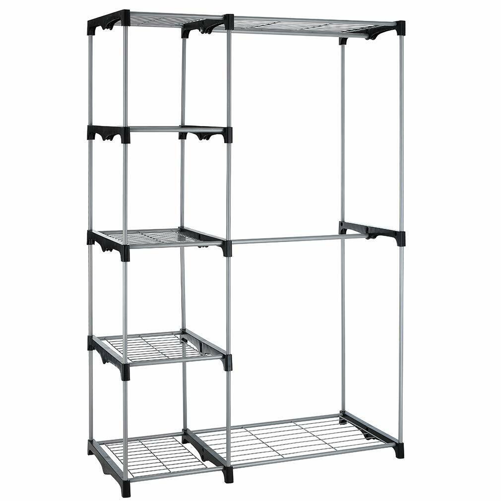 Closet Organizer Storage Rack Portable Clothes Hanger Home Garment Shelf Rod G68 Home & Garden