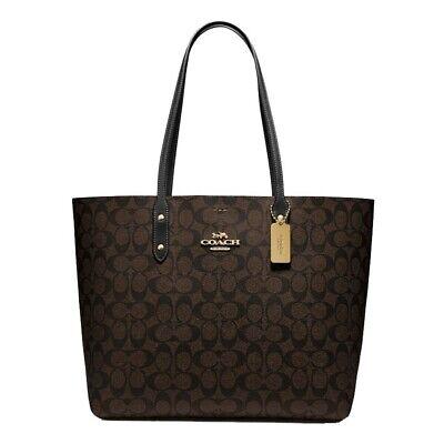 New Authentic Coach 76636 Town Tote Purse Handbag Signature Canvas Brown Black