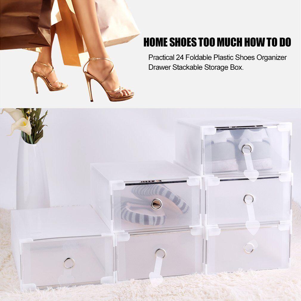 24x Almacenamiento Apilable Caj N Pl Stico Caja De Zapatos  ~ Cajas Transparentes Para Zapatos