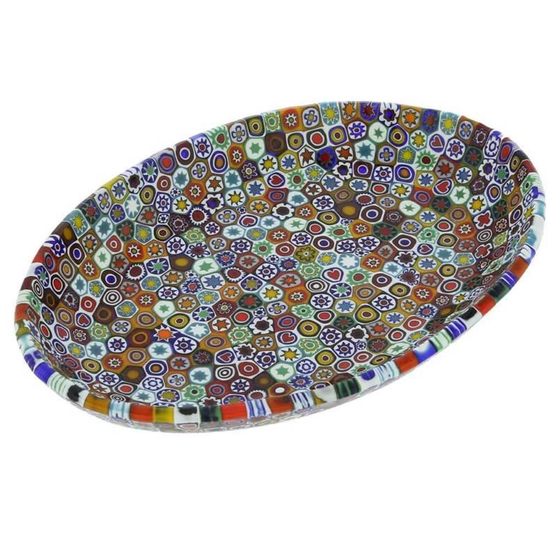 GlassOfVenice Murano Millefiori Oval Plate - Multicolor