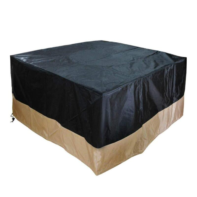 Heavy Duty Patio Square Fire Pit/Table Outdoor Waterproof Cover, Black, 40-Inch
