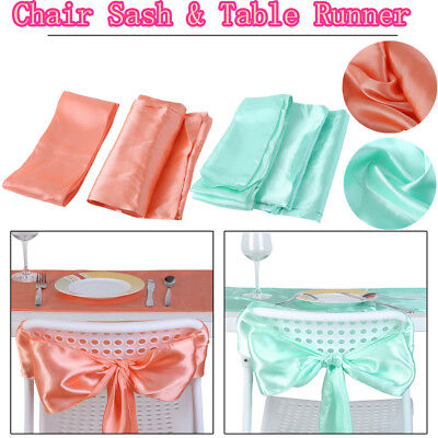 Set Satin Chair Sash & Table Runner for Wedding Party Banquet Decor US HOT - Party Tables For Sale