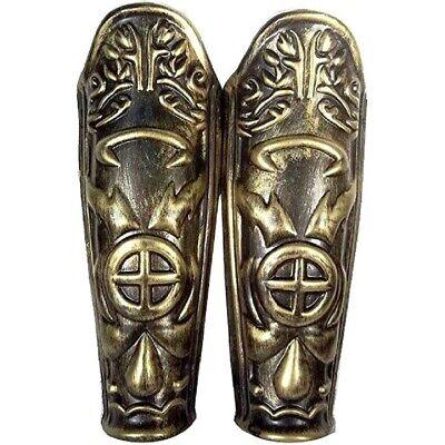 Roman Leg Armor Pair 2 Pieces Gold Greek Plastic Armour Shield Knight Accessory](Halloween Gladiator Shield)