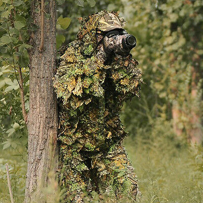 Leaf Camouflage Camo Wood Ghillie Suit Set 3D Jungle Forest Hunting Sniper -