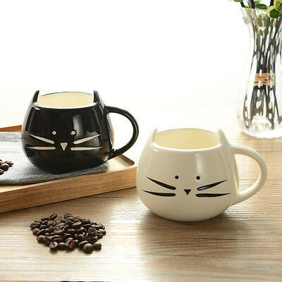 Ceramic Cat Mug White Black Food Grade Ceramic Coffee Milk Tea Mug Cup Lot Fv