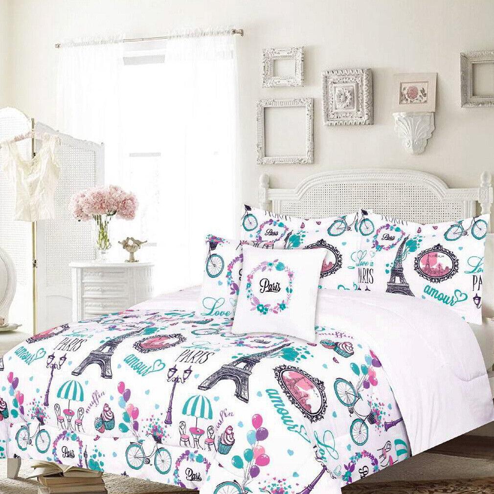 Twin or Full/Queen Paris Comforter Bedding Set Eiffel Tower Café, Teal Bedding